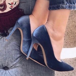Zara Peacock Blue Velvet High Heel Pumps